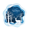paper art deer in a snowy forest vector image