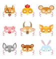 Animal Paper Masks Set Of Items vector image