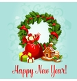 New Year design with holly wreath and gift vector image
