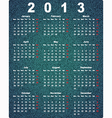 Stylish calendar for 2013 on denim background vector image vector image