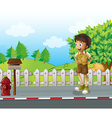 A boy at the road near the wooden mailbox vector image vector image
