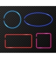 Neon frames set on black transparent vector image