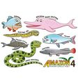 Set of Cute cartoon Animals in the Amazon vector image