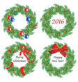 Christmas wreaths made of fir branches vector image