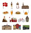 Denmark Flat Style Icons Set vector image