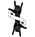Rock on hand creative sign with two hands an vector image
