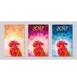 symbol 2017 fire cock poligonal background three vector image