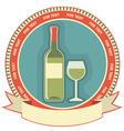 White wine bottle label symbol background vector image vector image