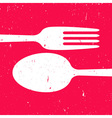 Cutlery on red background vector image