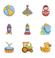 toys icons set cartoon style vector image