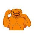 Strong Pumpkin fighter ready for battle Halloween vector image