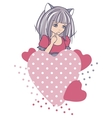 Manga style girls with hearts background vector image vector image