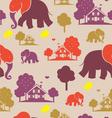 seamless elefant village vector image