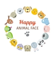Collection of Cute Animal Faces Animal Head Icons vector image