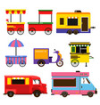 different food trucks set vector image