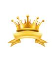 gold crown ribbon winner shiny sign black vector image