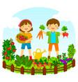 kids in a vegetable garden vector image