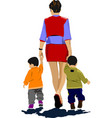 mother walking with two children vector image