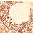 Vintage doodle leaves ornate circle frame vector image