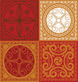 red scuares-Indian ornament set vector image