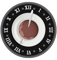Cup of cocoa on big clock Coffee break Tea time vector image