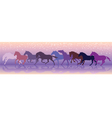 background with horses run at a gallop vector image