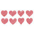 set heart drawn painted with a brush hand vector image