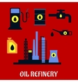 Oil refinery flat industrial icons vector image vector image
