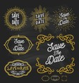 Save the date frame border chalkboard style vector image