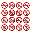 prohibited symbols vector image vector image
