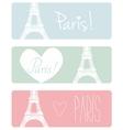 Love Paris pastel banner set with Eiffel Tower vector image