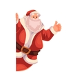 Santa Claus looking from behind the wall with vector image