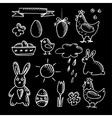 Set of spring easter chalk doodle sketches icons vector image