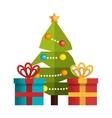 tree and box gift merry christmas design vector image