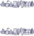 turkey pumpkin leaf hay and hat design vector image