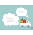 santa driving a trank full of presents vector image
