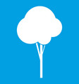 Fluffy tree icon white vector image