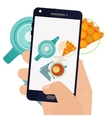 Hand making a smartphone photo of breakfast vector image