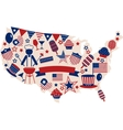 USA icons for american independence day vector image vector image
