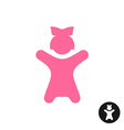 Happy little girl icon Pink kid silhouette with vector image