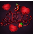 Sex shop hot pepper and strawberry vector image