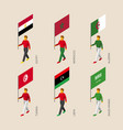 isometric people with flags of middle east vector image