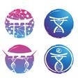 logo design dna colorful on white bac vector image