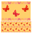 Red butterflies seamless pattern vector image vector image