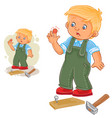 little boy hammering a nail and bruised vector image