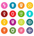 shields set icons many colors set vector image