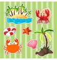 sticker design island and sea animals vector image