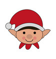 white background with face boy of christmas gnome vector image