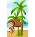 A monkey in a hawaiian attire dancing near the vector image