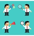 Business life employee with office gadgets vector image vector image